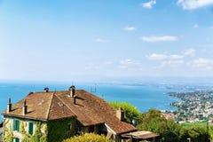 Lavaux-Weinberg-Terrassen, die Weg die Schweiz wandern Stockfoto