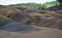 lave de couleur sept dans la région de Chamarel intérieure Photographie stock