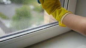 Lave na janela de borracha com um pano molhado, MOVIMENTO LENTO das luvas HD, 1920x1080 filme