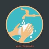 Lave seu símbolo das mãos Fotografia de Stock Royalty Free