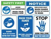 Lave su muestra de las manos stock de ilustración