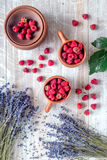 Laveder composition with raspberry in pottery cup rustic background top view Stock Images