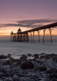 Clevedon Pier Sunset. Sunset over Clevedon Pier, North Somerset, UK stock photography