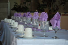 Lavendar Table Setting Royaltyfria Bilder