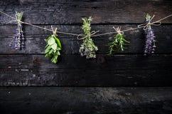Lavendel blüht, Rosmarin, Minze, Thymian, Melisse mit alten Scheren auf einem schwarzen Holztisch Gebranntes Holz Badekurort und  Stockbild