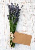 Lavendel blommar med etiketten Royaltyfria Bilder