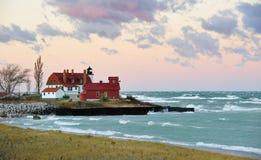 Lavendel Dämmerung-Punkt Betsie Leuchtturm, Michigan Stockbild