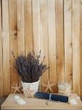 Lavendel in den Töpfen mit Starfish Lizenzfreies Stockbild
