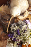 Lavendel, Droge Bloemboeket en Pompoen Stock Afbeelding