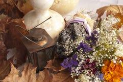 Lavendel, Droge Bloemboeket en Pompoen. Stilleven Royalty-vrije Stock Foto's