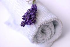 Lavendel en handdoek royalty-vrije stock afbeeldingen