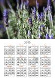 Lavendel för 2015 kalender stapplar biet Arkivbilder