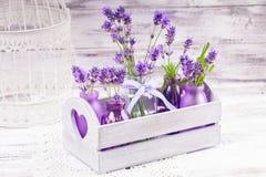 Lavendel in flessendecor stock afbeeldingen