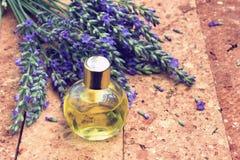 Lavendel met olie royalty-vrije stock foto's