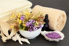 Lavendel- och kaprifolSpa Arkivfoto