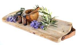 Lavendel och nödvändiga oljor royaltyfria foton