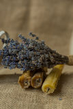 Lavendel och stearinljus Arkivfoto