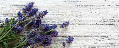 Lavendel op houten hoogste mening als achtergrond Royalty-vrije Stock Fotografie