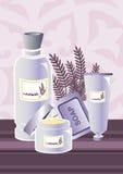 _Lavendel poner crema composición Imagenes de archivo