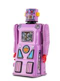 Lavendel/rosafarbener Zinn-Spielzeug-Roboter stockfoto