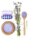 Lavendel, salt aromatisk olja för hav och tvål på en vit bakgrund Royaltyfria Foton