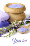 Lavendel, salt hav och tvål på en vit bakgrund Royaltyfria Foton