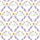 Lavendel-tadelloses grünes und lila Blumen-Gitter lizenzfreie abbildung