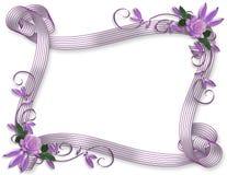 Lavendel van de de uitnodigings de bloemengrens van het huwelijk Stock Foto's