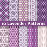 Lavendel verschillende vector naadloze patronen Stock Fotografie