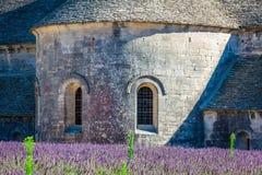 Lavendel vor dem abbaye de Senanque in Provence Lizenzfreies Stockbild