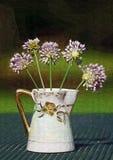 Lavendel-Weinbergslauch-Lauch Wildflowers im Pitcher Lizenzfreie Stockbilder