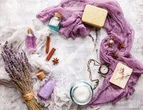 Lavendelachtergrond Kuuroord en parfumthema Stock Afbeeldingen