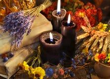 Lavendelbündel, heilende Kräuter, Blumen, Beeren und schwarze Kerzen auf Planken Lizenzfreies Stockfoto