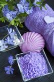LavendelBadesalz mit Blumen, Seife und Tuch Stockfotografie