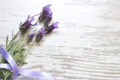 Lavendelbloemen op uitstekende houten raadsachtergrond Royalty-vrije Stock Afbeeldingen