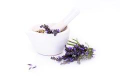 Lavendelblommor, lavanderextrakt och montar med torra blommor som isoleras på vit arkivfoton