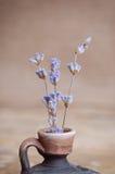 Lavendelblume in der Flasche auf Holztisch Lizenzfreie Stockfotos