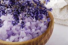Lavendelbrunnsort och bukett Arkivfoto