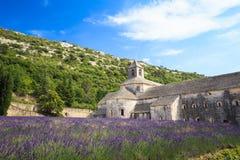Lavendelfält och en forntida klosterabbotskloster Abbaye Notre-Dame Arkivbild