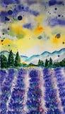 Lavendelfält, vattenfärgteknik Fotografering för Bildbyråer