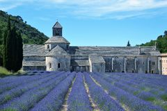 Lavendelfeld an der Senanque-Abtei in Frankreich Stockfotografie