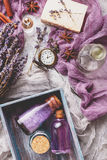 Lavendelhintergrund Badekurort- und Parfümthema Lizenzfreies Stockbild
