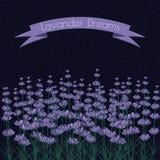 Lavendelkvistar på mörkret ink fläckbakgrund stock illustrationer