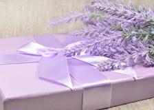 Lavendelniederlassung über einer Geschenkbox Lizenzfreie Stockbilder