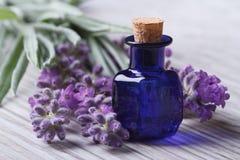Lavendelolja i en horisontalblå glasflaska och blommor Arkivfoton