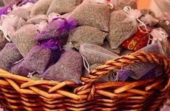Lavendelquetschkissen Stockfoto
