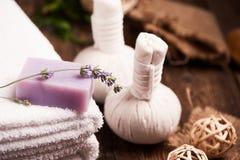 Lavendelstangenseife Stockfoto