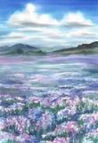 Lavendelweidelandschaftsaquarell lizenzfreie abbildung