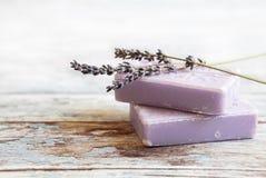 Lavendelzeep Royalty-vrije Stock Foto's