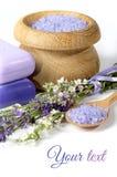Lavender, άλας θάλασσας και σαπούνι σε ένα άσπρο υπόβαθρο Στοκ φωτογραφίες με δικαίωμα ελεύθερης χρήσης